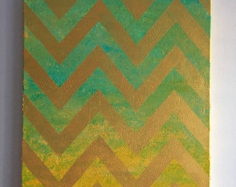 Chevron painting, yellow and blue