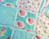 "37x45""  Vintage Inspired Fabrics from Tanya Whelan 100% Cotton Rag Quilt in Aqua and Pink with Flannel Batting Inside Ready to Ship"