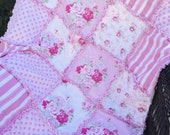 "33x42""  Vintage Inspired Fabrics from Tanya Whelan 100% Cotton Rag Quilt in Pink with Flannel Batting Inside Ready to Ship"