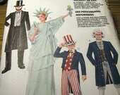 Vintage McCalls 7339 Halloween Costume Sewing Pattern - Size 32, 34 Adult Size Small - Patriotic Costume Pattern - Lady Liberty, Uncle Sam