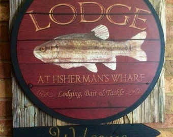 Fisherman's Lodge Sign on cypress wood