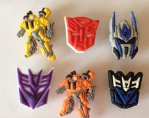 SALE Back2School Like Transformers Inspired Decepticons Bumblebee Autobots Shoe Charms, Crocs Accessories, Birthday Party Favors Zipper Pull