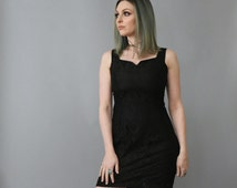 Vintage 1980's 1990's Up Beat Black Lace Fitted Silhouette Dress