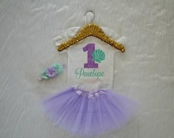 Baby Girl Mermaid Sea Shell First Birthday Bodysuit, One Lavender Glitter with Mint Aqua Custom Name, cake smash outfit, Short Sleeve 235