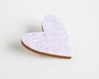 White Glitter Heart Pin, Glitter Heart Brooch, Wooden Love Heart Brooch Pin, Valentines Pin