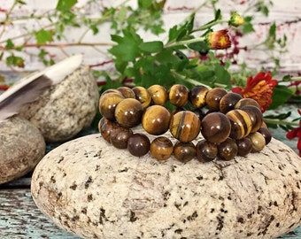 Tiger Eye & Brown Zebra Jade Bracelet Set