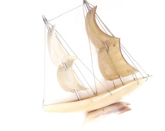 Vintage boat sculpture cow horn small sailing ship yacht marine sails handmade decor retro collectable