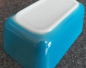 Vintage Blue PYREX Refrigerator Dish Primary Horizon 502 Rectangle Oven Bowl