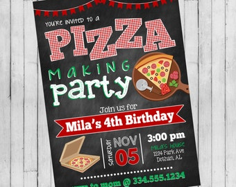 Pizza Party Invitation | Pizza Making Birthday | Pizza Birthday Invitation | Digital Invitation