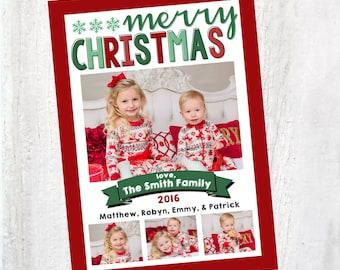 Photo Christmas Card | Christmas Card | Snowflake Christmas | Photo Holiday Card | Digital Christmas Card {P17}