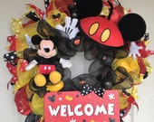 Mickey Mouse Wreath, Welcome Wreath, Disney Welcome Wreath