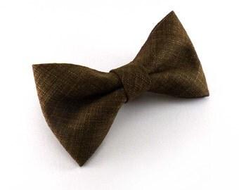 Caramel brown clip on bow tie - rich woven tweed look tan bowtie