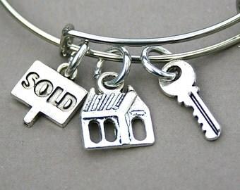 SOLD , Realtor House For Sale, Real Estate Agent Bangle, Estate Agent Bracelet, Adjustable Bangle, Gift For Her, Agent Gift, Real Estate,156