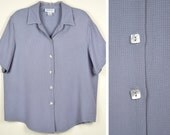Vintage Blue  Rayon & Acetate  Shirt by apparenza Size X Large