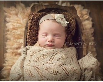 Newborn headband, baby headband, child headband, tie back headband