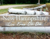 New Hampshire Sign, Rustic, Painted, Carved