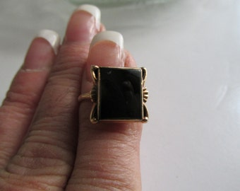 Art Deco Rings Black Onyx Ring Gold Ring Sz 6 Right Hand Ring