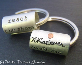 Sterling silver Custom keychain inspirational quote graduation gift for him or her personalized keychain husband gift