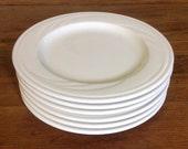 Set of 6 Syracuse China Cascade dessert bread plates cream embossed swirl USA restaurant ware restaurantware retro mid century serveware