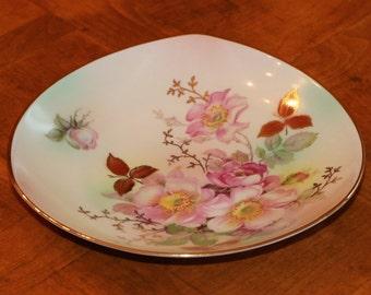 "Schumann Arzberg Bavarian China ""Wild Rose"" Smooth Triangular Bon Bon Dish Appetizer Plate"