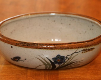 Vintage Xochiquetzal Mexican Pottery - Tonala Jalisco Mexico - Small Oval Bowl