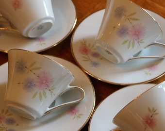 Zeh Scherzer Bavarian Porcelain Pattern 7042 Pink and Blue Floral China Four Cup and Saucer Sets