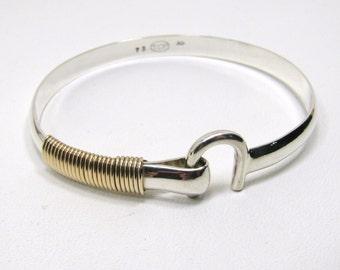 Sterling Silver St. Croix Hook Bracelet, 6 mm wide & 14K Gold Fill Wire Wrap Bracelet, Caribbean Hook Bracelet, Island Love Bracelet