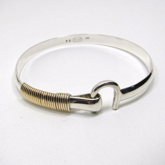 sterling silver st croix hook bracelet 6 mm wide 14k gold