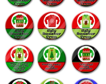 Ugly Christmas Sweater Party Favors 2.25 inch Pinback Buttons Pins Badges Set of 12 Party Awards