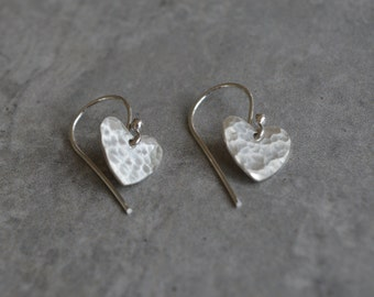 Hammered Heart Earrings Love Sterling Silver Reclaimed Silver Dangle French Wire