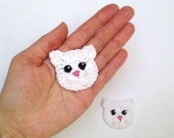 Crochet Appliques, Kitty Appliques, Cat Applique, Crochet Cat, Crochet Animals, Handmade Applique, Animal Motifs, Craft Supplies, Black Cat