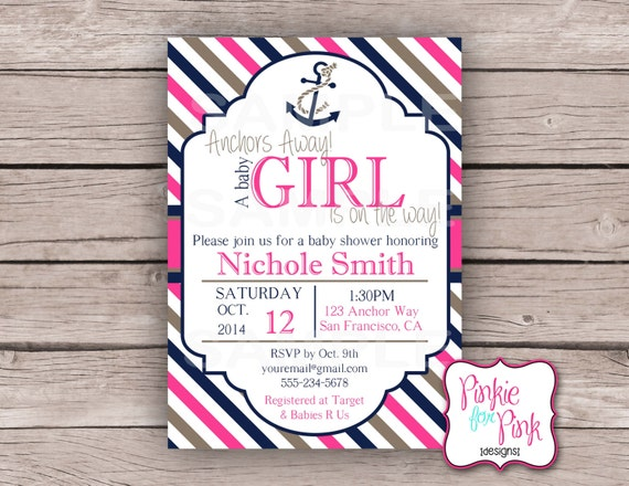 personalized nautical baby girl shower invitation nautical digital