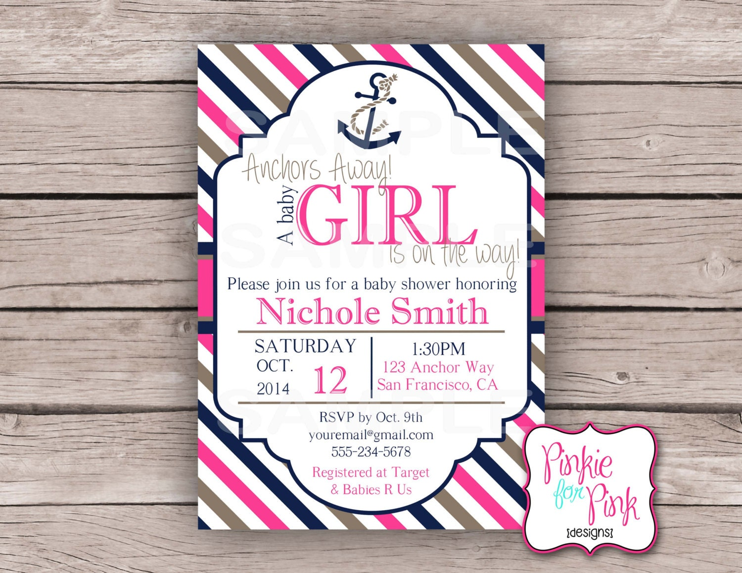 personalized nautical baby girl shower invitation nautical