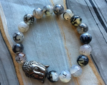 Faceted Black and White Crackle Agate and Gunmetal Buddha Head Stretch Bracelet