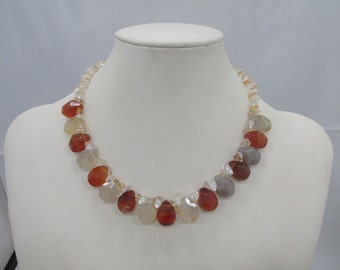 KJL RARE Necklace - Amber & Clear Yellow Beads - KL Plaque, S Clasp - Vintage - stunning!
