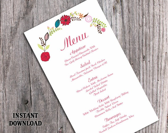 wedding menu template diy menu cardthedesignsenchanted