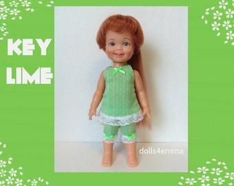 Vintage Ideal CINNAMON Doll CLOTHES - Lime-Green Dress and Capri Pants - Handmade Custom Fashion - by dolls4emma