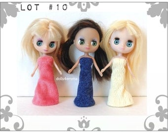 DOLL CLOTHES Lot of 3 Lovely Gowns handmade for Littlest Pet Shop BLYTHE Petite Lot #10