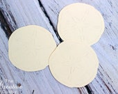 """2.5"""" Ivory Sand Dollar Paper Cut Outs"""