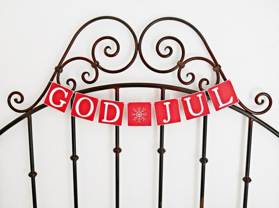 FREE SHIPPING, God Jul banner, Merry Christmas sign, Holiday decoration, Merry Christmas garland, Holiday photo prop, Red & white, Snowflake