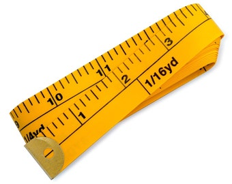 """bbloop® Yardage Marked Tape Measure - 288"""" Two-sided Inch/Yard YELLOW"""