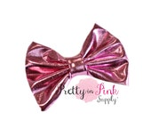 """X Large Pink 5"""" Soft Shiny Metallic Fabric Bow - You Choose Quantity - Bow...Bow ...Large Bows...Bows...Wholesale...Big Bow..Bow- Leather"""
