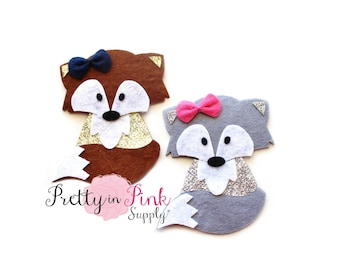 FOX Felt/GlitterApplique - Flat Back Felt Appliques - Felt Crafts - Felt- Felties-Woodland Animal Feltie Applique-Feltie DIY Craft Supply