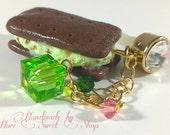 Mint Chocolate Ice Cream Sandwich Phone Charm, Phone Strap or Dust Plug, Kawaii Polymer Clay Food, Sweets Deco, Decoden, Lolita Kei,