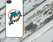 Miami Dolphins White Background Design on iPhone 4 / 4s / 5 / 5s / 5c / 6 / 6 Plus Rubber Silicone Case