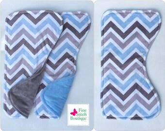 Set of 2 BLUE & GRAY CHEVRON Minky Baby Burp Cloth - Blue and Gray Baby Burp Cloth - Baby Boy Burp Cloths