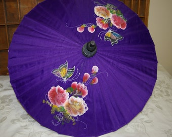 Vintage Purple Flowered Oriental Bamboo silk or Nylon Umbrella Parasol