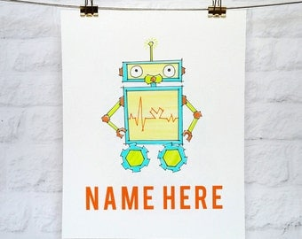 Robot Art - Custom Nursery Art - 5x7 or 8x10 Illustration