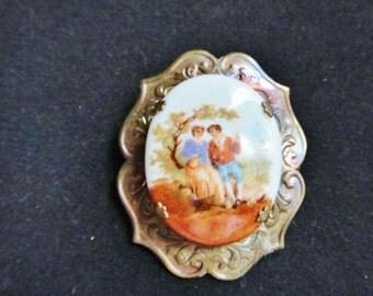 Vintage Porcelain Painted Brooch On Sale 30% Off