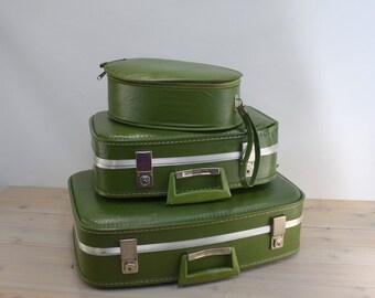 Luggage, Suitcase, Green, Set, Wedding, Prop, Hat Box, Hat Luggage